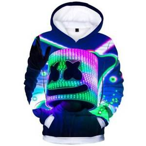 Boys-Kids-Marshmello-DJ-Hoodies-Sweatshirt-Hooded-Coat-Pullover-Winter-Sweater