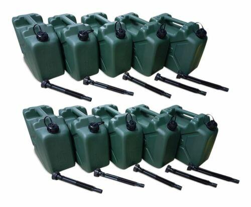 10 x 10 L Armeekanister Kunststoffkanister Kraftstoffkanister olivgrün Ausgießer