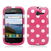 For Huawei Ascend Y H866c Hard Case Snap On Phone Cover Pink Polka Dots