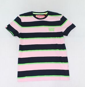 Superdry-Mens-T-Shirts-Pink-Blue-Size-Medium-M-Striped-Crewneck-Tee-54-345