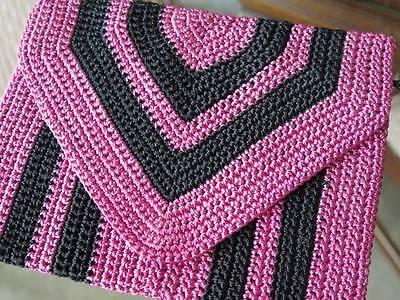 1920's 1930's Authentic Handmade Striped Crochet Lace Clutch Purse RiRi Zipper