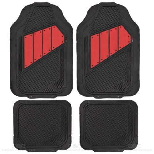 Deep Channeled Odorless Trimmable Heavy Duty Rubber Car Floor Mats Red//Black