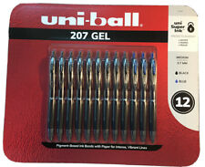 Uni Ball 207 Retractable Gel Rollerball Pen Micro Point 12 Count Black Amp Blue