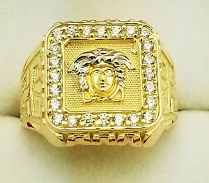 This Sleek 14k Gold Diamond Mens Versace Style Ring With Medusa Weighs Roximately 16 Grams And Showcases 1 88 Carats Of Sparkling Round Diamonds