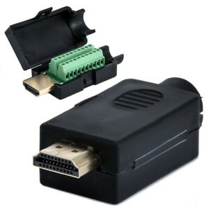 HDMI-19P-Plug-to-Terminal-Block-Breakout-Male-DIY-Connector-Plug-W-Black-Cover