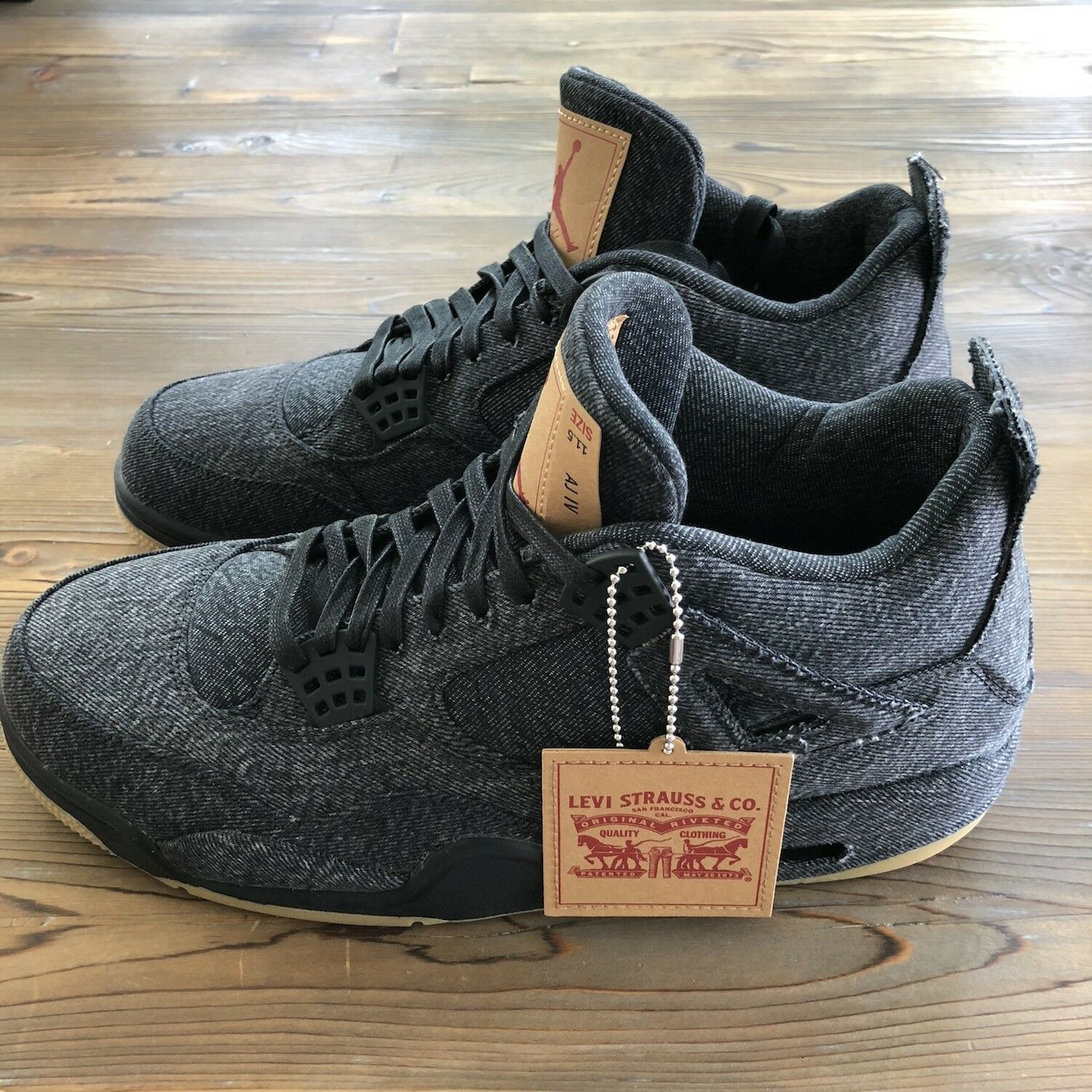 New Deadstock Nike Air Jordan Retro 4 Levis NRG Black Denim 11.5 US A02571-001 The latest discount shoes for men and women