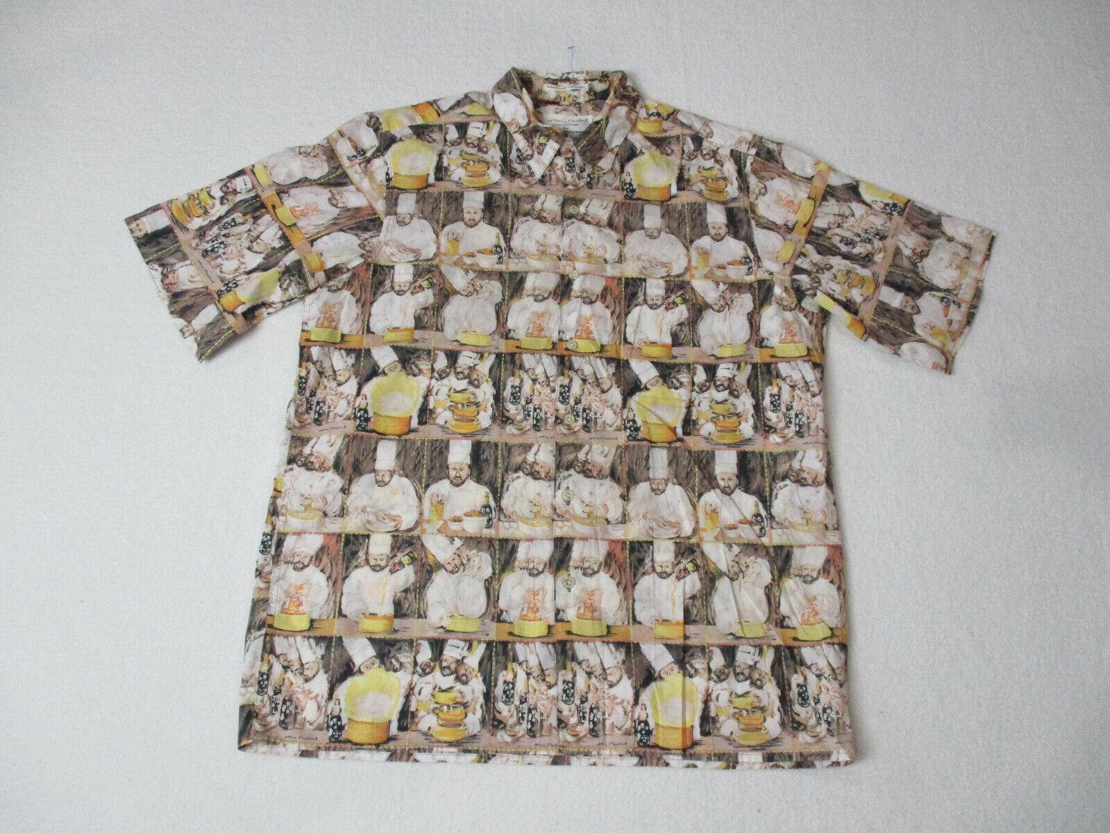Reyn Spooner Guy Buffett Hawaiian Shirt Adult Large Brown Chef Cook Food Mens