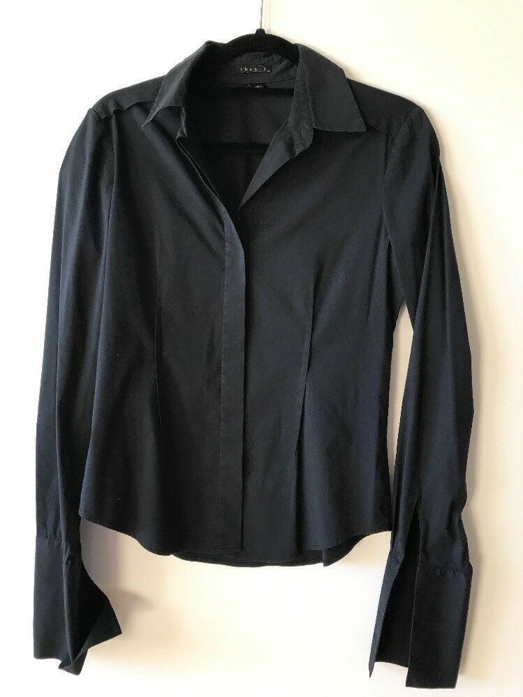 Theory schwarz Blouse Stretch Shirt Buttons Down Long Sleeves Sz S French Cuffs