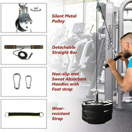 show original title Details about  /Cable roller pulley fitness arm bicep handle resistance attachment