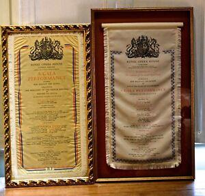 Royal Opera House 1958 and 1960 A Gala Performance programmes framed nylon silk