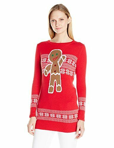 b9754c5c8c5 Women's Ugly Christmas Sweater Med Gingerbread Man Tunic M Red Fair Isle  for sale online | eBay