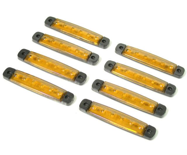 8x 9 LEDs Red Rear 24V Side Marker Lights for Truck IVECO SCANIA DAF MAN VOLVO