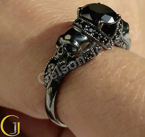 1-65-Ct-Gorgeous-Black-Two-Skull-Engagement-Wedding-Ring-925-Sterling-Silver