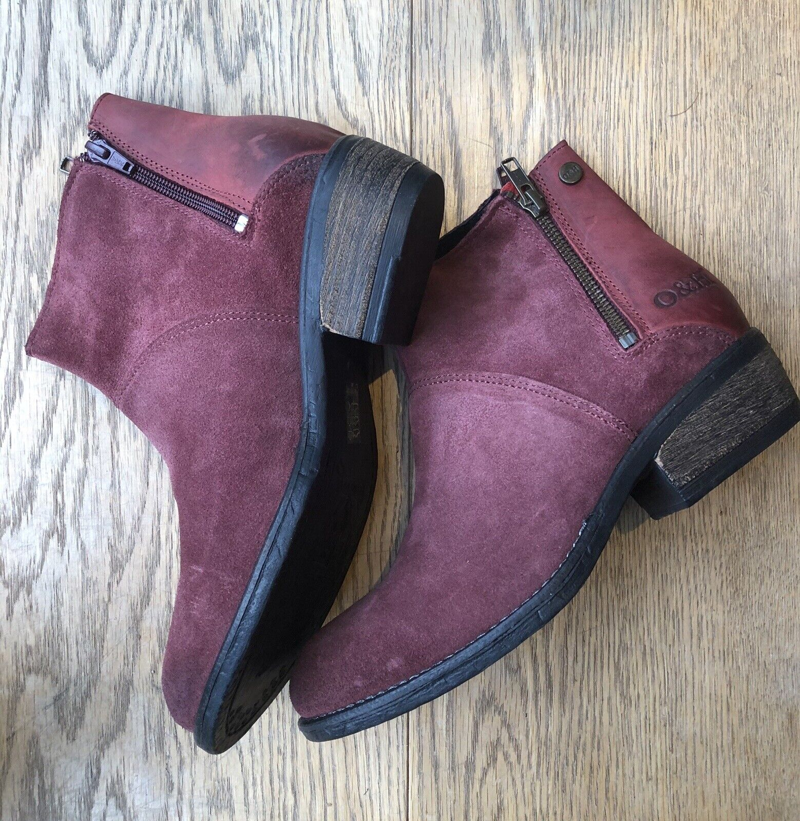 Oak And Hyde Rita Zip Up Ox Blood Red Size 4 (37) Ex Display Box 105