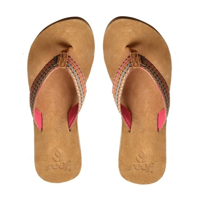 22716652a1a0 Womens Reef Gypsylove Pink Woven Suede Flip Flops Sandals Size 3-8 ...
