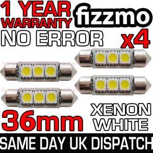 4x 36mm NUMBER PLATE INTERIOR ERROR 6000K WHITE 3 SMD LED C5W FESTOON LIGHT BULB