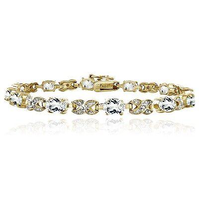 "Gold Tone 7.15ct White Topaz & Diamond Accent X & Oval Bracelet, 7.25"""