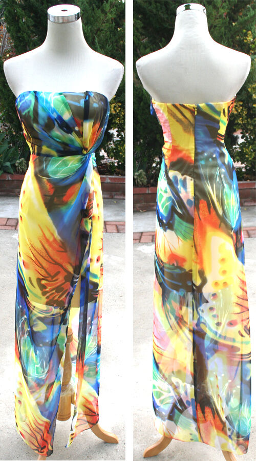 NWT JUMP APPAREL  Yellow   Multi Formal Prom Gown 3