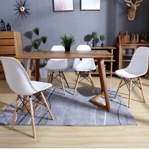 Detalles de Pack 4 sillas de comedor silla diseño nórdico piernas de madera  Blanco