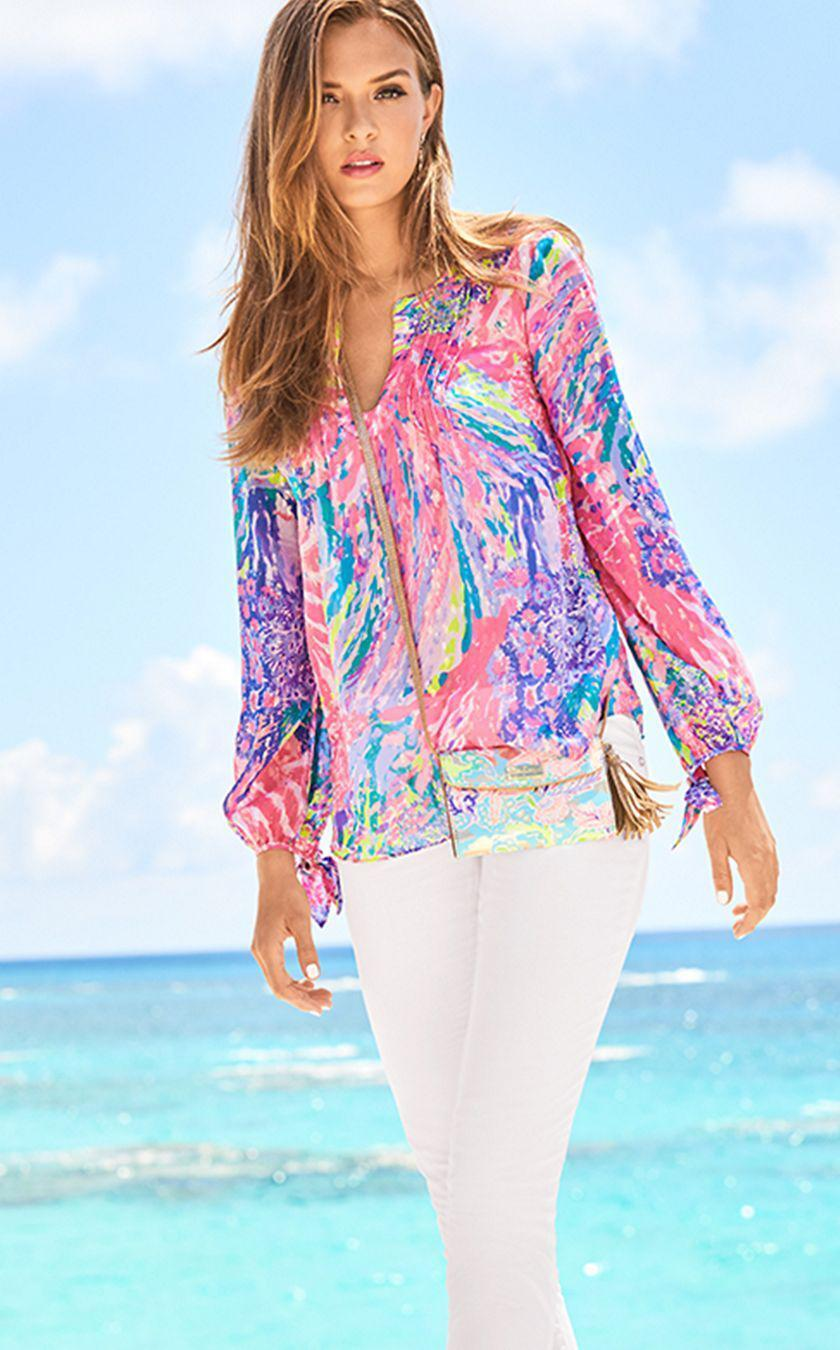 New Lilly Pulitzer COLBY SILK CLIP TOP Multi Rainbow Soleil Blouse Pink XXS XL