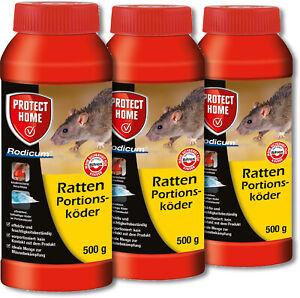 PH Ratten 3x 500g Rodicum Portionsköder Rattengift Keller Garage Dach Schuppen