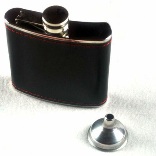 Portable Stainless Steel Hip Flask Flagon Wine Pot Bottle With Funnel 6 oz Black