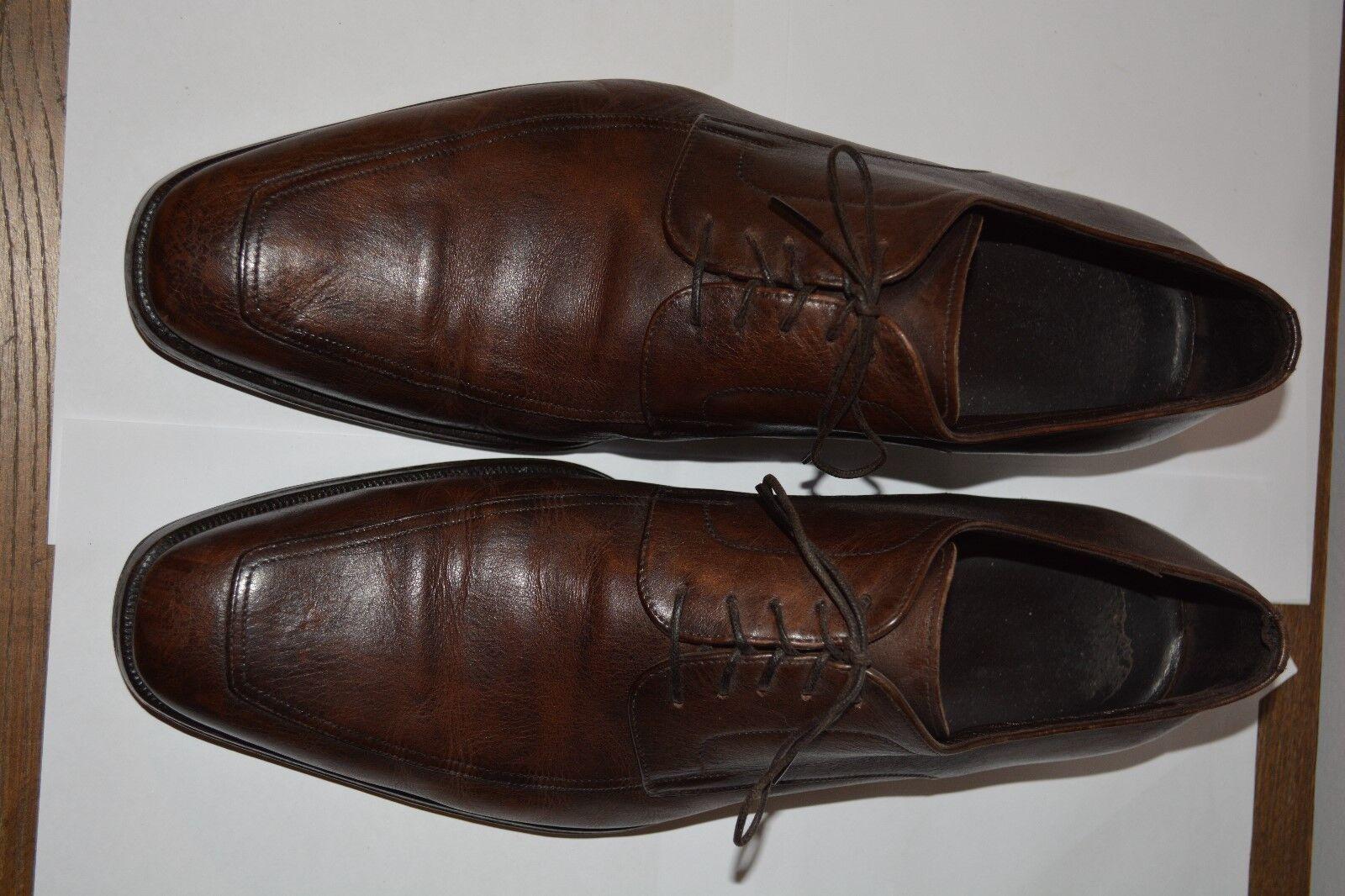 695 Ermenegildo Zegna Brown Pelle Derby Dress Shoes 12 D ITALY