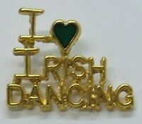 Irish I Love Irish Dancing Pin In Gold Plate & Green Heart, St Patricks Day,