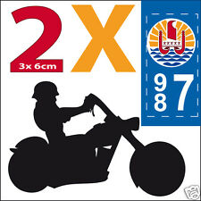 2 stickers autocollant style plaque immatriculation moto Département  987 tahiti