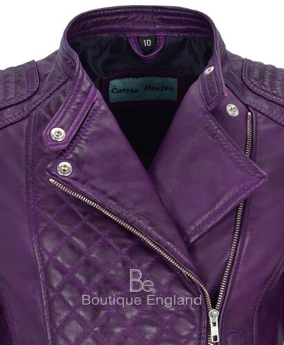 Woman/'s Real Leather Jacket Purple Biker Style Fitted Diamond Shape Front Panel