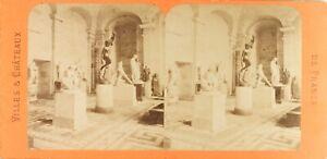 FRANCE-Paris-Musee-du-Louvre-Sculptures-Photo-Stereo-Albumine-ca-1870