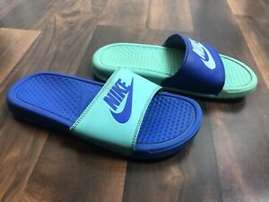 Nike girls slides opposite colors blue