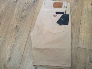 Armani-Jeans-AJ-chino-short-canvas-30-38-metal-eagle-pocket-deep-beige-bnwt