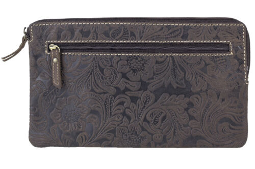 LEAS Banktasche /& Geldtasche Brieftasche Floral-Druck Echtleder Ledergeldtasche