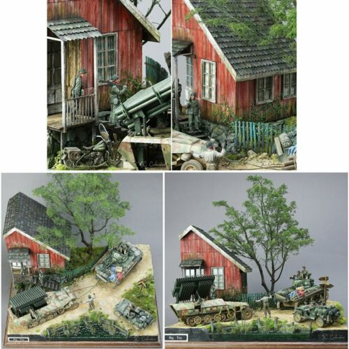 1//35 Skala DIY Militärgebäude WWII deutscher Soldat Shelter House Holz Cabin Kit