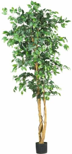 Silk Ficus Tree Artificial Plant Nearly Natural 6 Ft Green Decor ...