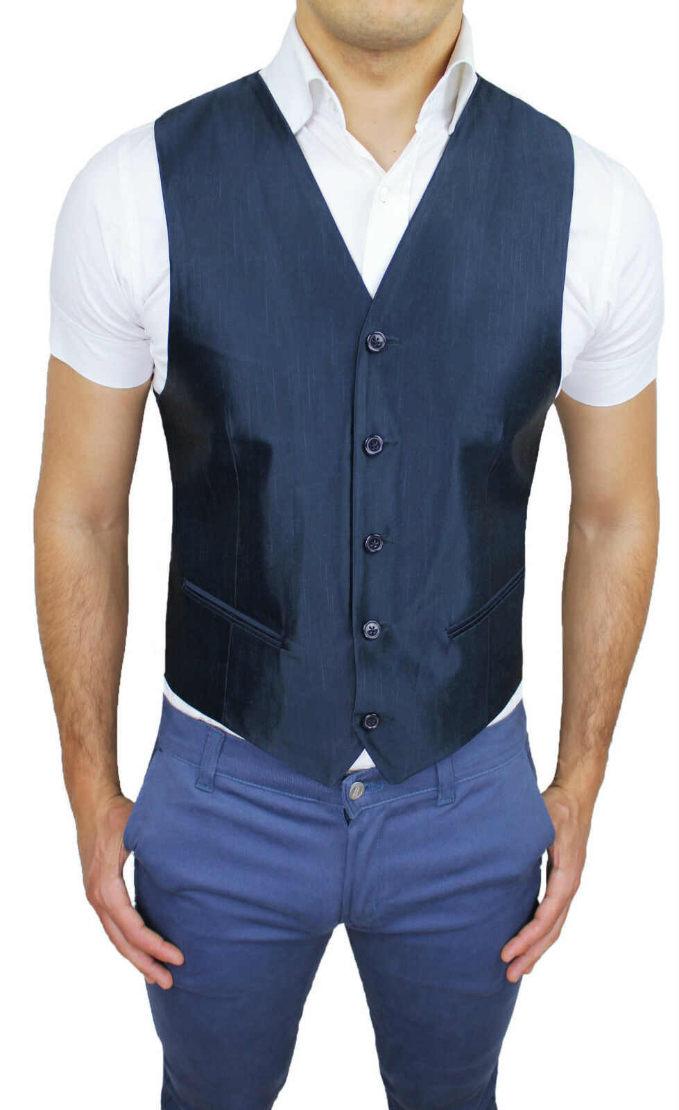 VEST WAISTCOAT MAN DIAMOND CLASS DARK blueE FORMAL ELEGANTE 100% MADE IN ITALY