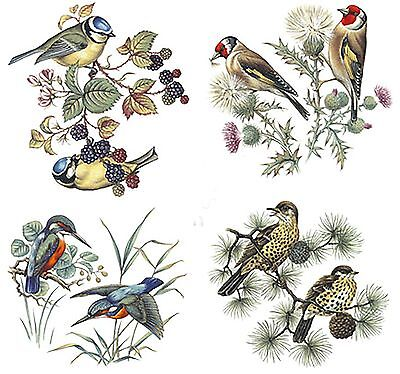 4 British Birds Select-A-Size Waterslide Ceramic Decals Bx