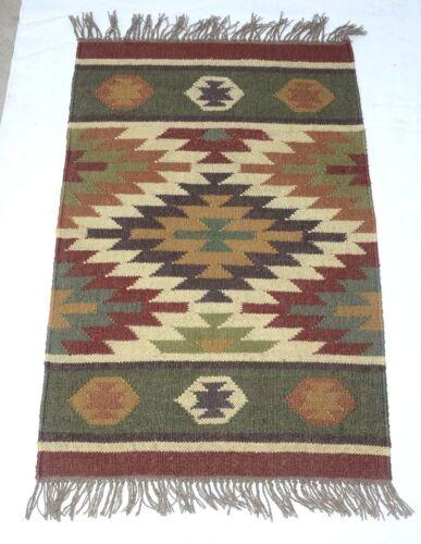 Handwoven Floor Kilim Rugs 2x3 Jute Area Rug Hand loomed Rustic Rugs Indian Art