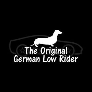 THE-ORIGINAL-GERMAN-LOW-RIDER-Sticker-Dachshund-Decal-Wiener-Dog-Fun-Stance-Euro