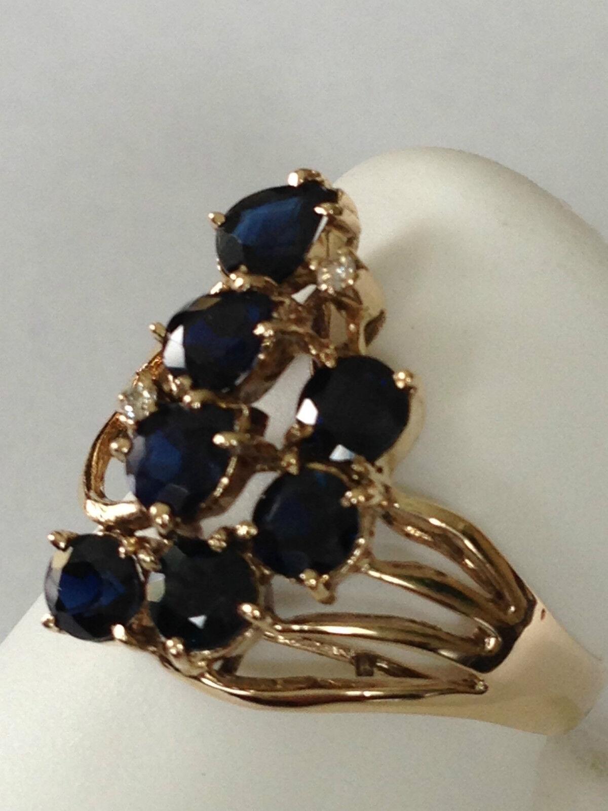 Sapphire Diamond Ring 14k yellow gold  round  1.65 carat