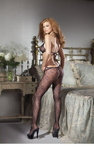 996c59b13e3 Details about Lace Cutout Bodystockings with Halter Top and Ties at Back. Hot  Sheer Lingerie!