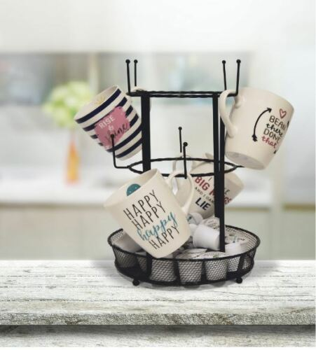 Hooks Tray Store Coffee Pods Kitchen Metal Mugs Rack Mug Tree With Mesh Tray