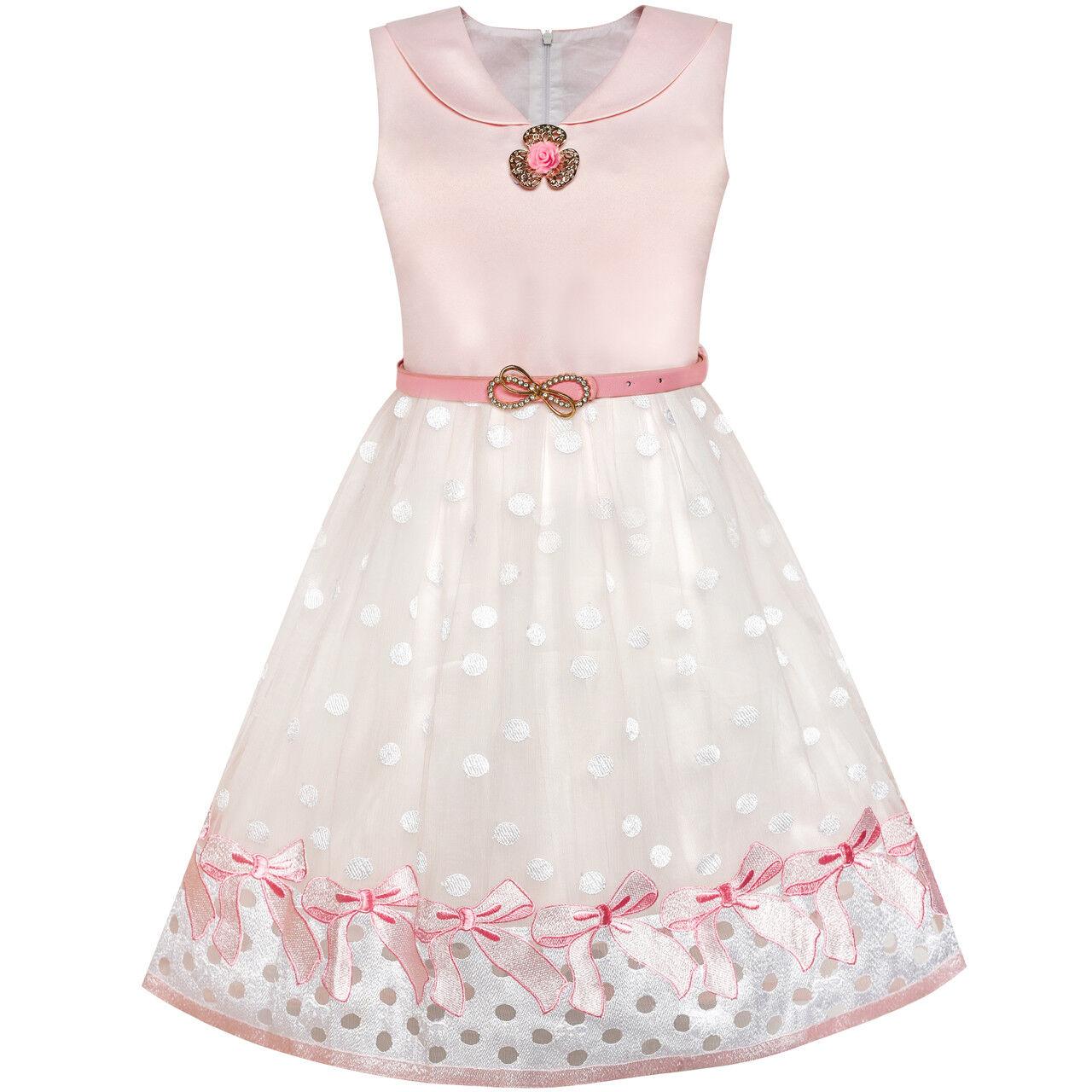 Mädchen Kleid Blume Ball Kleid Hochzeit Brautjungfer Bogen Binden Gr 110-146