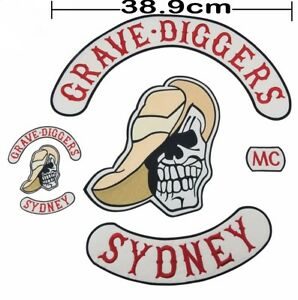 FULL SIZE GRAVE DIGGERS MC Patch set biker cut motorcycle club stone 1974 movie
