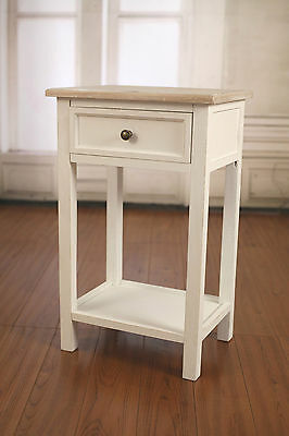 2 x French Provincial Bedside Table Paulownia Grey Wash. Bedside Chest