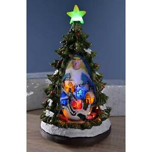 Pre Lit Rotating Christmas Tree.Details About Pre Lit Led Christmas Tree Scene With Rotating Train Decoration 32 Cm