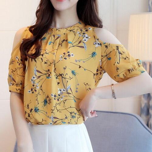 Fashion Damen Chiffon Kurzarm Bluse Tops Schulterfrei T-Shirt Shirt Freizeit Neu