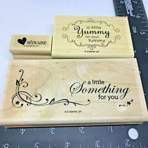 Stampin up! Rubber Stamp A Little Yummy for the Tummy Something for You Set 3