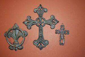 Image Is Loading 3 Fleur De Lis Cross Doorknocker Entry Set